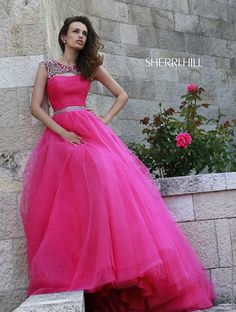 2015 Spring Sherri Hill Dress Collection | Sherri Hill 11177 Floor Length Ball Gown Evening Dress with Capped Sleeves | Sherri Hill 11177 Prom & Pageant Dress