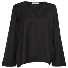 Great Plains Alana Crepe Raw Neck Blouse ($65) ❤ liked on Polyvore featuring tops, blouses, black, women, tailored fit shirts, tailored shirts, v neck tops, v neck shirt and bell sleeve shirt