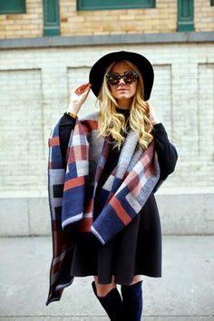 Wrap: Topshop (other options below). Sweater: Old (similar here). Dress worn as skirt: Tibi. Boots: Stuart Weitzman. Hat: Eric Javits. Sunglasses: Stella McCartney. [1.20.15]
