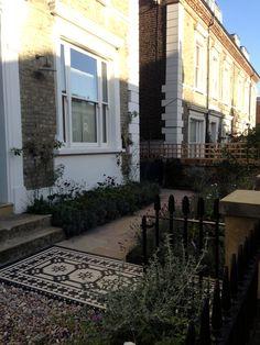 Islington Victorian mosaic tile path York stone sandstone paving wrought iron rails and gate London (40)