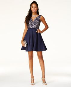 4081a6cebf11 City Studios Juniors  Glitter Lace Fit  amp  Flare Dress
