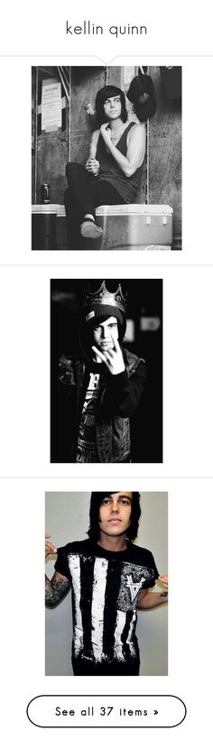 """""""kellin quinn"""" by caracullencakey ❤ liked on Polyvore featuring bands, pictures, kellin quinn, sleeping with sirens, people, - pictures, b&w, kellin, boys and pics"""