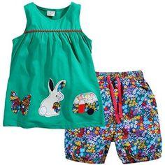 Amazon.com: Little Girls Pajamas Rabbit Clothes Short Sets Size 2T-7: Clothing