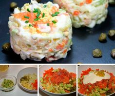 receta ensaladilla de salmon Mashed Potatoes, Seafood, Food And Drink, Rice, Dinner, Cooking, Ethnic Recipes, Bilbao, Queso