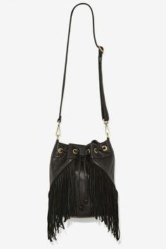 Cassidy Fringe Leather Bucket Bag