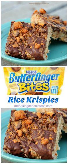 Butterfinger Rice Krispie Treats via HTTP:///BaknChocolaTess Rice Krispy Treats Recipe, Rice Crispy Treats, Krispie Treats, Yummy Treats, Sweet Treats, Köstliche Desserts, Delicious Desserts, Dessert Recipes, Yummy Food