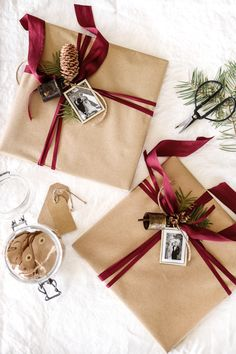 Brown Paper And Burgundy Ribbon