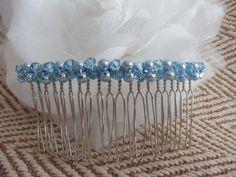 Light Blue Swarovski Bicone & Pearl Bead Minimalist Decorative Bridal Hair Comb. Bridal hair comb. Something blue hair comb. Traditional by HazelsWeddingShop on Etsy