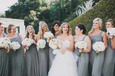 Pewter Bridesmaids Dresses | floral design by http://www.gfiori.com/ | photography by http://www.heidiryder.com/ | event planning by http://www.wishwonderdream.com/