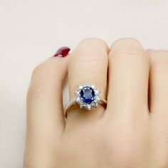 Ring in 18 kt gold with central #sapphire of 1,63 ct and natural brilliant-cut white #diamonds of 0,55 ct. The #ring is available in white gold, rose gold, yellow gold but you can also customize carats, quality, and color of #gemstones. All our #jewelry are made in italy. Contact us for any particular request.