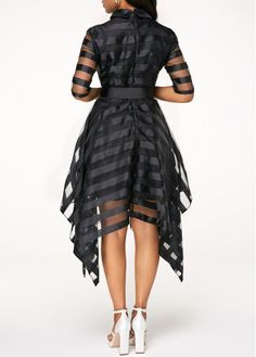 Rosewe Black Dresses -This cute Rosewe black sheer striped dress is perfect for a casual occasion or party. Satin Dresses, Sexy Dresses, Cute Dresses, Casual Dresses, Trendy Dresses, Half Sleeve Dresses, Half Sleeves, Dresses With Sleeves, African Fashion Dresses