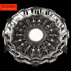 ANTIQUE 20thC INDIAN SOLID SILVER EMBOSSED SALVER TRAY c.1900