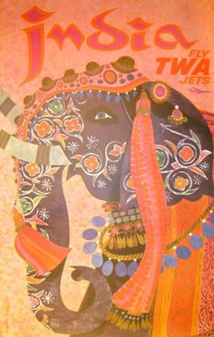 Vintage TWA India Travel Poster: David Klein