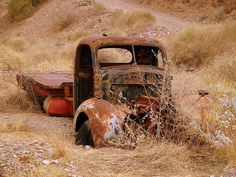 old truck in the desert.  #old truck #rust #rusted #rusty