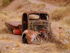 old truck in the desert.