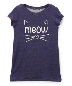Denim Blue 'Meow' Cat Shirt Dress - Toddler & Girls