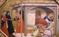 Italian Gothic ~ 1350-1380 ~ Birth of the Virgin by Maestro della Predella dell'Ashmolean ~ 1365-70
