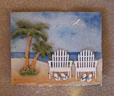 card beach sea seaside summer tropical palm tree trees beach chair IO Impression Obsession Arnold Grummer's Papermaking: A Day at the Shore Masculine Birthday Cards, Birthday Wishes Cards, Masculine Cards, Impression Obsession Cards, Nautical Cards, Beach Cards, Mothers Day Cards, Scrapbook Cards, Scrapbooking