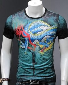 1a85a21161ee Make you handsome Dragon t shirt back tiger printed