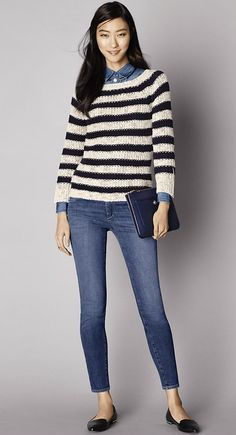 Must-Have Look: A stitchy striped sweater is a spring weather essential, try layering a chambray shirt underneath.