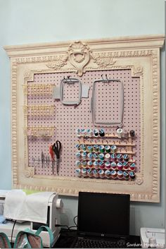 Monogram machine and peg board organization. Could use a frame around pegboard too. Sewing Spaces, My Sewing Room, Sewing Rooms, Sewing Room Decor, Sewing Room Organization, Craft Room Storage, Organization Ideas, Storage Ideas, Paper Storage