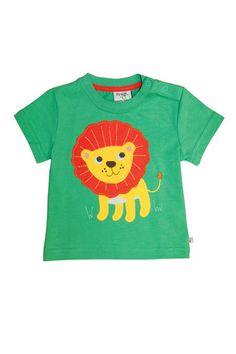 Frugi Baby Boys Little beach T Shirt, Field Green Lion - Dandy Lions Boutique