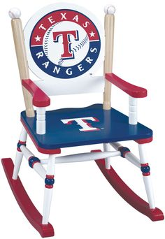 Texas Rangers Rocking Chair - Wooden MLB Rocker for Kids.