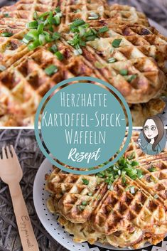 Einfache Kartoffel-Speck-Waffeln Rezept A simple recipe for hearty waffles with potatoes, bacon, cheese and spring onions. The potato waffles are ideal as a hearty breakfast or as a main course. Bacon Waffles, Potato Waffles, Savory Waffles, Bacon Potato, Easy Dinner Recipes, Breakfast Recipes, Dessert Recipes, Easy Meals, Breakfast Hotel
