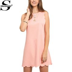 Sheinside Ladies Casual Summer Dresses 2016 New Women Cute Pink Scallop Trim Sleeveless Crew Neck Straight Mini Dress #Affiliate