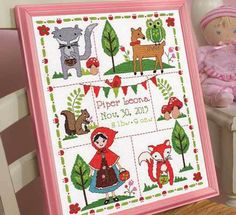 Bucilla Little Red Riding Hood Birth Record - Cross Stitch Kit. Stitch a bright and cheery nursery with a design that catches the eye and the heart. Kit include