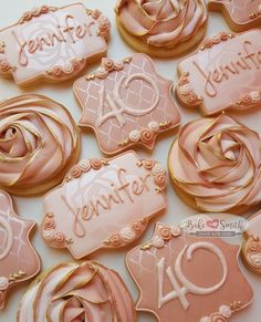 An antique rose themed surprise party! Birthday Roses, 40th Birthday Cakes, Gold Birthday Party, 30th Birthday Parties, Sweet 16 Birthday, Birthday Cookies, 40th Birthday Themes, 40th Birthday Decorations, Rose Gold Party Decorations