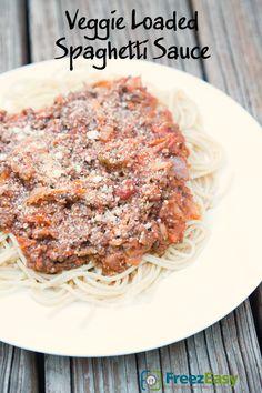 FreezEasy.com - Veggie Loaded Spaghetti Sauce ~ Freezer Friendly!