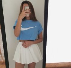 nike crop top rolled sleeves sky blue skater skirt tank top skirt top shirt nike air nike t-shirt blue crop tops dress Nike Crop Top, Crop Tops, Mode Ulzzang, Outfit Goals, White Skirts, Mode Style, Fashion Killa, Look Cool, Swagg