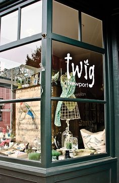 Twig Newport storefront and window signage. Whimsical gift shop in Newport, RI.