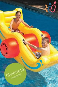 Swimline rocks your world with the fun see-saw aquatic toy. Rockin' cool time for kids! Swimline rocks your world with our fun new sea-saw Rockin' cool time for all Great Item for kids Living Pool, Outdoor Living, Inflatable Pool Toys, Inflatable Island, My Pool, Pool Fun, Pool Water, Water Toys, Cool Inventions