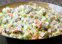 I love this salad. It is one of the best Russian dishes ever. I love this salad. It is one of the best Russian dishes ever. Russian Salad Recipe, Russian Potato Salad, Russian Dishes, Russian Recipes, Olivier Salad, Salad Dishes, Salads, Ceviche, Greek Recipes