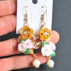 Find More Drop Earrings Information about New Design 2015 Europe Exaggerated Baroque Ceramic Drop Earrings With Flowers Pearl Pendants fashion jewelry for women A908,High Quality jewelry stand earrings,China earring connector Suppliers, Cheap earrings jewelry stand from The Sunny Day on Aliexpress.com