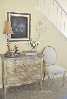 entry way - foyer, I need a dresser for entry way. More storage! But I do not care for the shabby look. Entryway Decor, Entryway Tables, Entry Foyer, Entrance Hall, Rustic Entry, Entryway Ideas, Muebles Shabby Chic, Interior Decorating, Interior Design