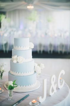 Light Blue Cake:  http://www.StyleMePretty.com/australia-weddings/2014/04/11/elegant-purple-infused-perth-wedding/ Photography: BenYew.com -- Cake: http://CakeLoveCouture.com.au