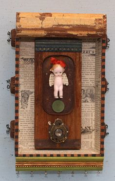 Assemblage Found Object Shrine Shadow Box Ceramic by nunnsense