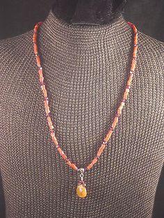 Liza Shtromberg Coral & Amethyst Necklace with Cognac Citrine Pendant