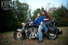 biker engagement photo