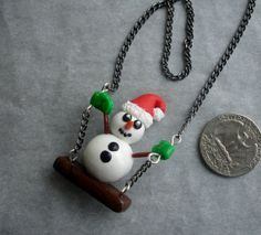 GUO GUO'S Handmade polymer clay Snowman on a Swing by GUOCRAFTS, $25.50