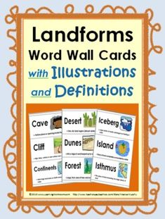 Landforms Word Wall Cards with Illustrations and Definitions