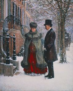"Alan Maley artist (1931-1995) ""Winter Romance"". ~ NYC Gilded Age era couple, during the winter, in front of a brownstone. ~~ {cwl} ~~ (felixr)"