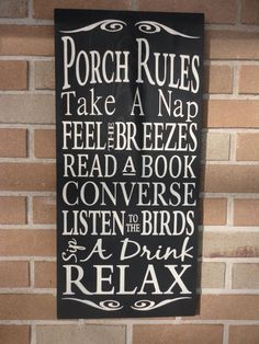 Porch Rules Sign, Housewares, Home Decor, Typography. $33.00, via Etsy.