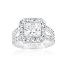 Ring, engagement ring, dress ring, fancy solitaire ring, cubic zirconia ring, online jewellery, sterling silver, shiels jewellers