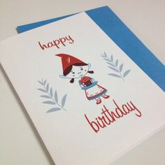 Little Gnome Girl birthday card by GiantGnomepaperco on Etsy