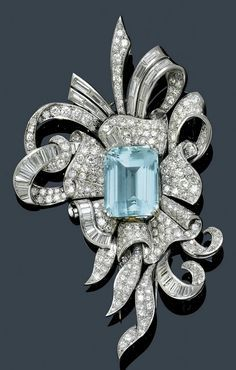 Aquamarine and Diamond Brooch circa 1945