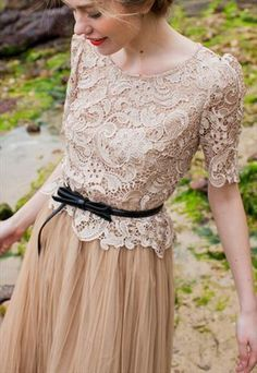 neutral lace and chiffon #vintage #neutral #feminine